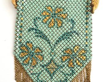 Vintage Purse Mandalian Bag Enamel Painted Mesh Floral Decoration Embossed Gold Frame Art Deco Handbag Flapper Fashion