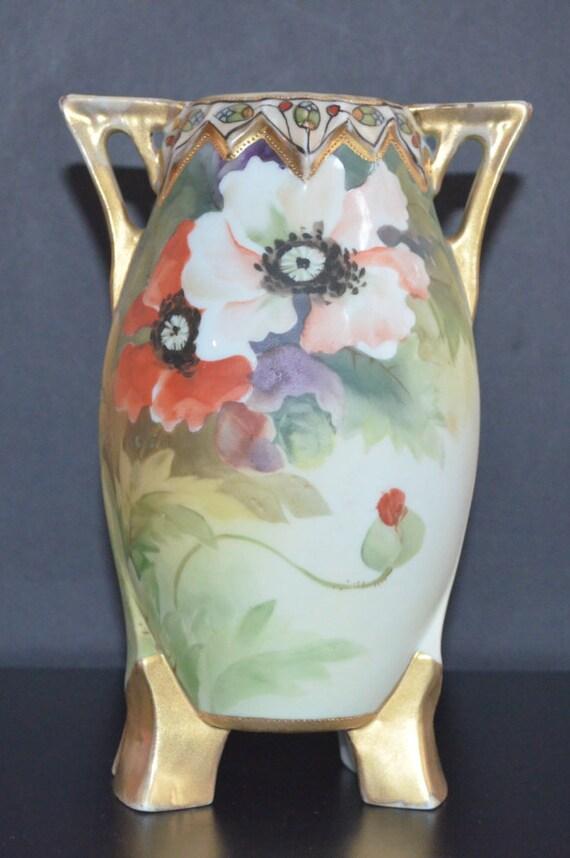 Nippon Vase Porcelain Moriage Poppy Flower Vase Hand Painted Etsy