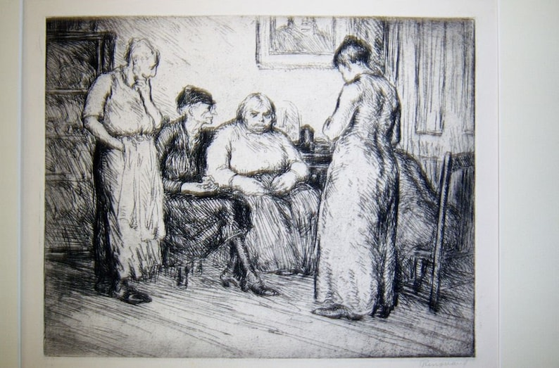 Antique Original George Renouard Etching Signed /& Titled Bad News Women in Apartment Pencil Drawing NYC Artist Depression Era Engraving