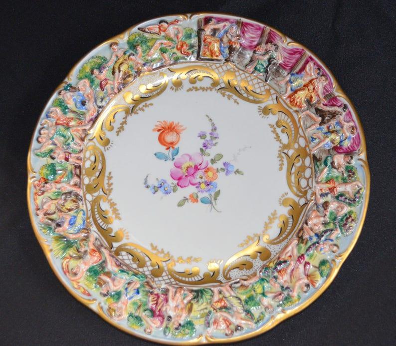 Altri Complementi D'arredo Arte E Antiquariato Antico Piatto In Terracotta A Bossorilievo Con Scene Neoclassiche