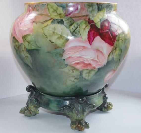 Large Antique Dc Limoges French Porcelain Jardiniere Vase Etsy
