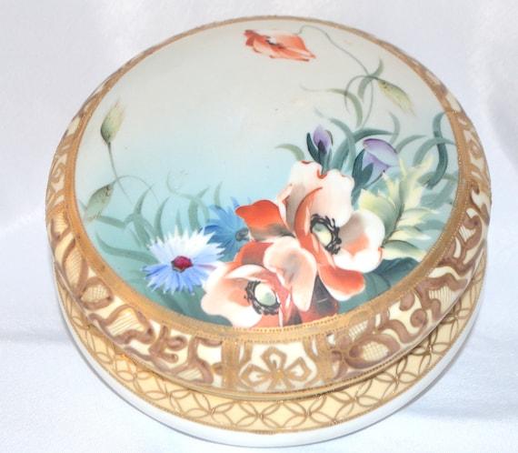 Hand Painted Dresser Jar Box Moriage Gold Poppies