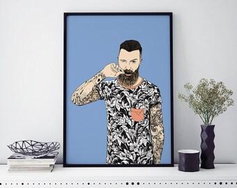 Poster illustration tattooed man, art print, home decor