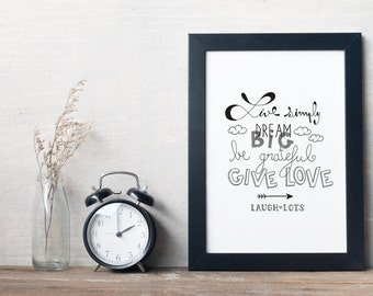 Poster, print, decoration, quote, motivation, word, typography, type, gift, frame