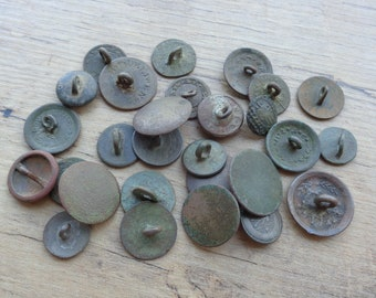 SET of 10 VintageAntique Brass Bronze Copper Buttons 19-20th century Archaeological Finds Original patina Mixed media Metal detector finds