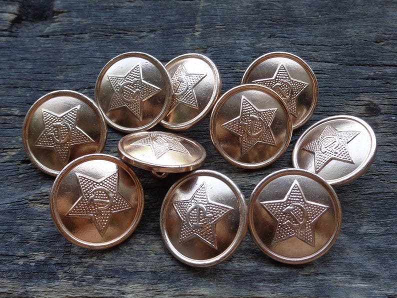 Set of 10 Vintage Soviet Army Military Uniform Buttons Aluminum Gold tone  Communist symbolism Star Hammer/Sickle Made in USSR -1980-