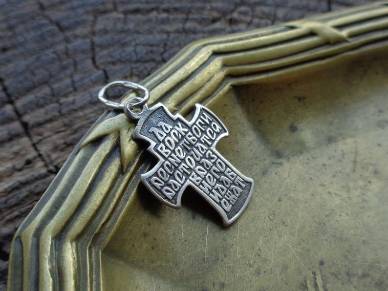 Beautiful Vintage Orthodox Crucifix King of Glory Words of prayer Psalm 68  of David Christian Silver Jewelry Religious Symbol INRI ICXC Nika