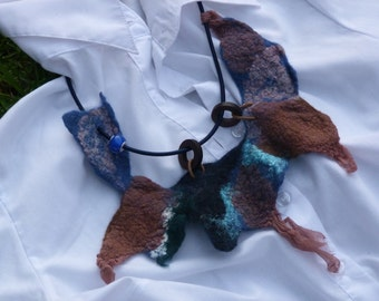 Wool Felted Necklace Blue-Brown Jeans Style