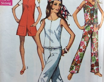 Simplicity 8198 misses jumpsuit size 14 bust 36 vintage 1960 s sewing  pattern 9e8adef98