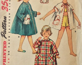 Simplicity 4503 girls robe or beach cover-up size 2 vintage 1950's sewing pattern