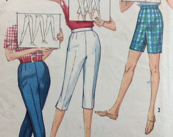 Simplicity 4886 misses pants in three lengths in proportioned sizes waist 28 vintage 1960's sewing pattern