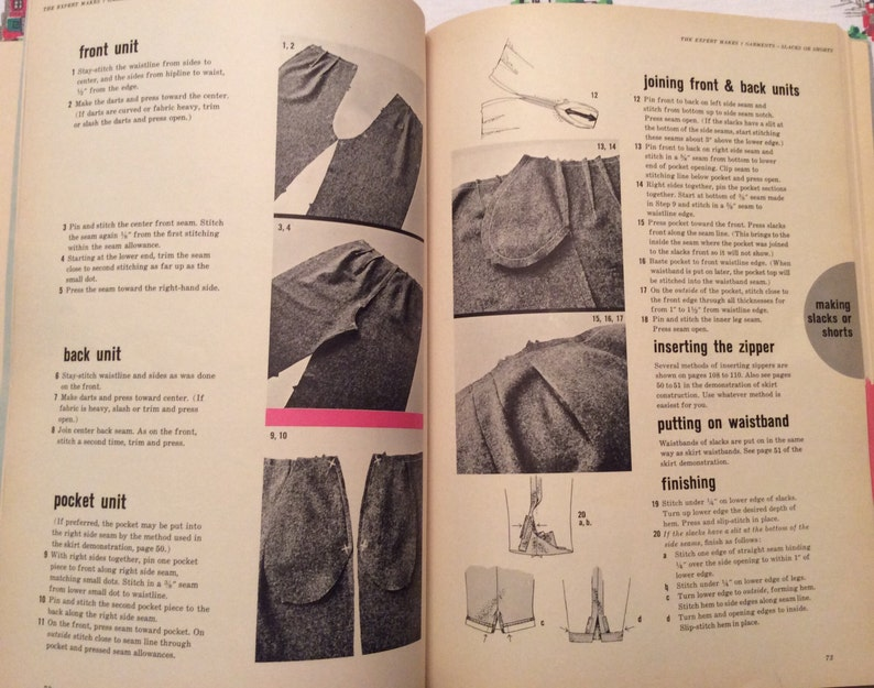 Step-by-step construction of 7 garments. Simplicity sewing book from 1962