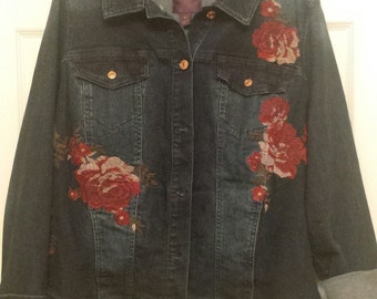 b28eb1510 1X Beautiful Gloria Vanderbilt Jean and Rose Jacket