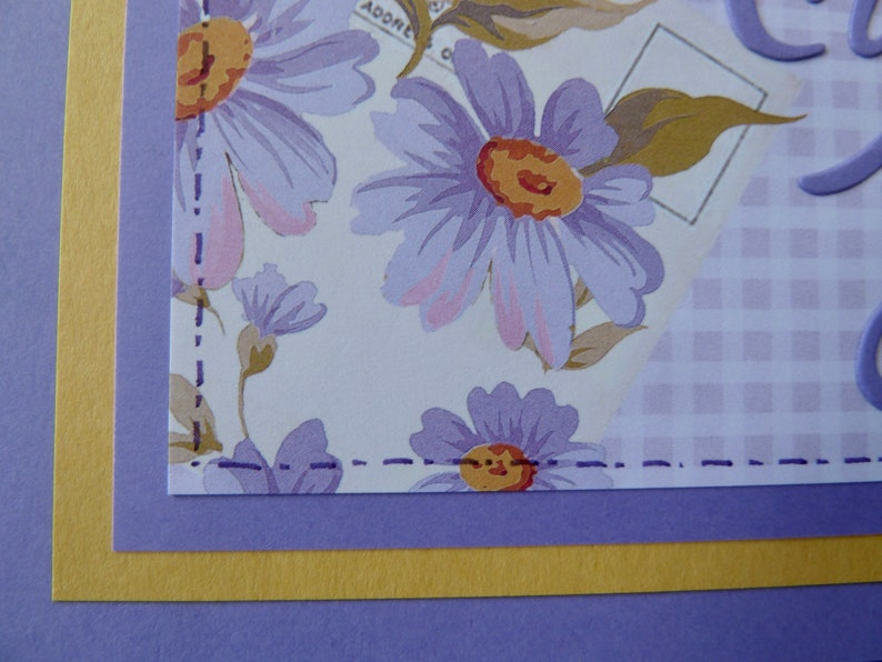 Lavender Thank You Card Flowers and Gingham You/'re the Best Card Thank You Greeting Card Handmade Thank You Card Floral Thank You Card