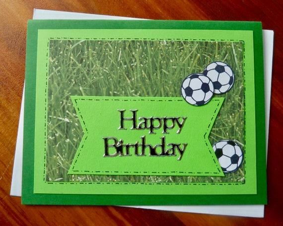 Soccer Birthday Card Handmade Birthday Card For Soccer Etsy
