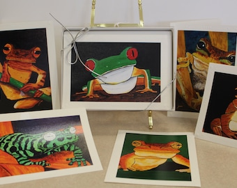 Frog Greeting cards, Frog art paintings
