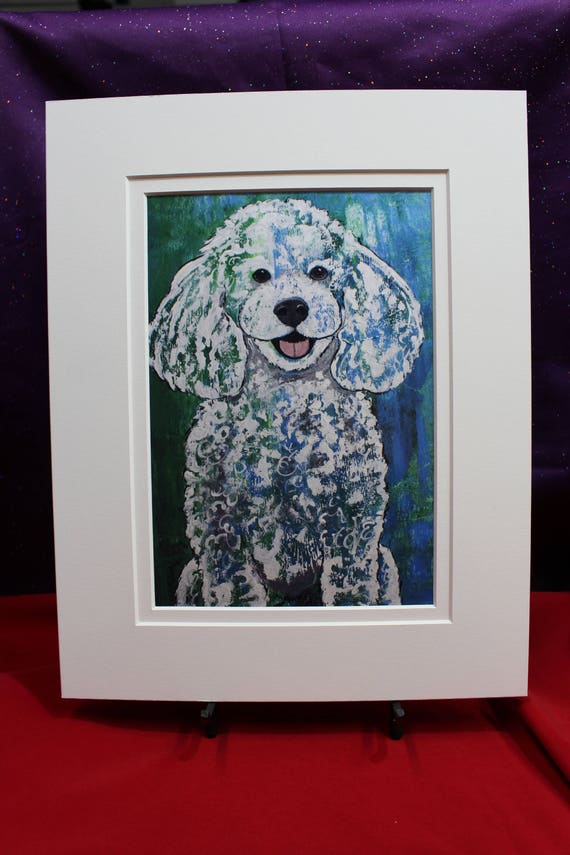 White Poodle Print Abstract Standard Poodle Green Turquoise Poodle Painting Dog Gifts For Her Him Childrens Wall Art