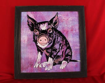 Potbelly Pig Painting, Abstract Purple Pig Original Wall Art, Black and White Pig Art, Pig Gifts For Her, Him, Children, Kids Wall Art