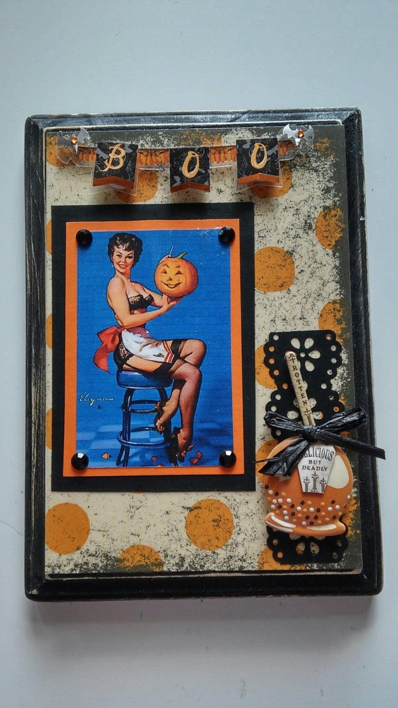 gil elvgren halloween pin-up with jack o' lantern collage | etsy