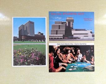 3 Vintage Trump Taj Mahal+Plaza+Marina Atlantic City Boardwalk PostCard NJ