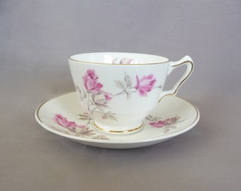 Crown Staffordshire Pink Rosebud Teacup and Saucer