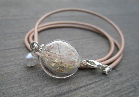 Bracelet real pusteblume with leaf