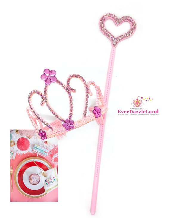 SILVER WAND AND TIARA SET WITH PINK STONES FAIRY TALES DRESS UP AND PLAY
