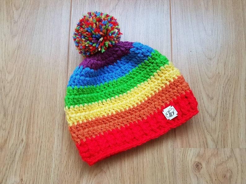 1fca2ebc4 Rainbow Hat, Rainbow Pom Pom Hat, Winter Hat, Baby, Kids and Adult Sizes,  Stripe Hat