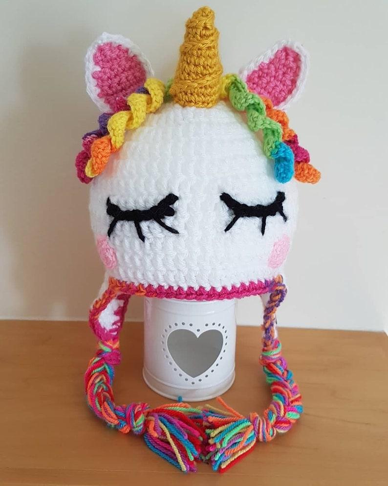 Unicorn Hat Rainbow Unicorn Braids Toddler to Adult Sizes  66149bd26ed