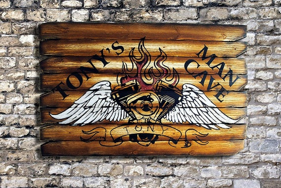 Old school styled tattoo drawing, decor sign| Personalized sign| Rustic decor| Hand painted flaming engine on distressed wood boards