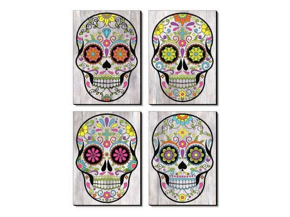 Colourful Skull Decor Wall Art, Four Panels Set, Modern Art Print on Wood, Boho Vintage Home Decoration, Different Sizes Available