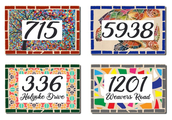 Mosaic Address Plaque, Custom House Address Signs, Name Sign, Raised Ink on Wooden Plaque, Personalized House Numbers, Housewarming Gift
