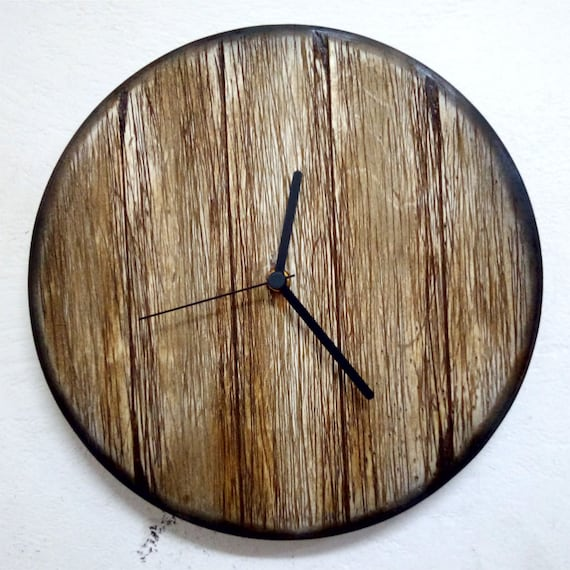 Vintage HandMade Walnut Wooden Rustic Wall Clock, Long hands, Different Sizes Available