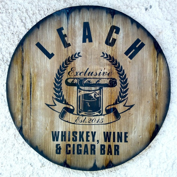 Custom Cigar Themed Sign Inspired by Aged Whiskey Barrels, Rustic Home Decor for Man Cave, Bar, Living Room, Personalized Gifts for Men