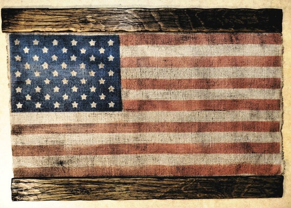 American Flag decor artwork made of burlap and wood | Rustic decor | American Flag Wall Art | Personalized gift
