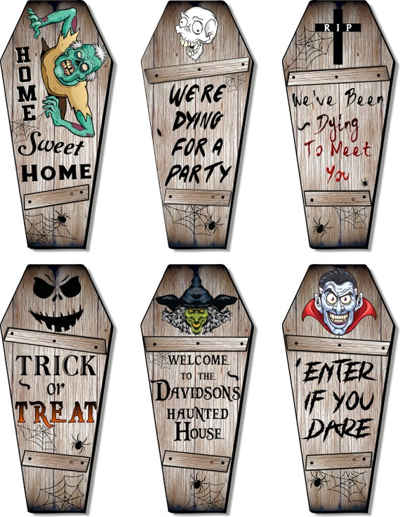 Personalized Wood Coffin Sign Wall Decor, Size 16/20/24/30 Inch, Customized with Your Wording & Name, Spooky Gothic Halloween Decoration