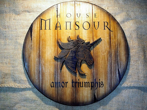 Personalized Rustic Barrel Sign featuring an embossed Unicorn| Aged Wood Family Decor| Horse Lover Gift | Personalized Gift | Horse Wall Art
