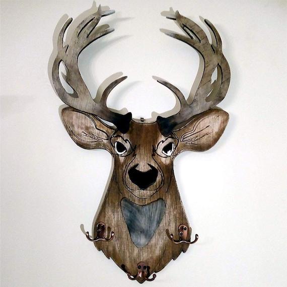 Deer Head Coat Rack, Hat Rack, Decorative Home Storage, Handmade on Engraved Rustic Wood