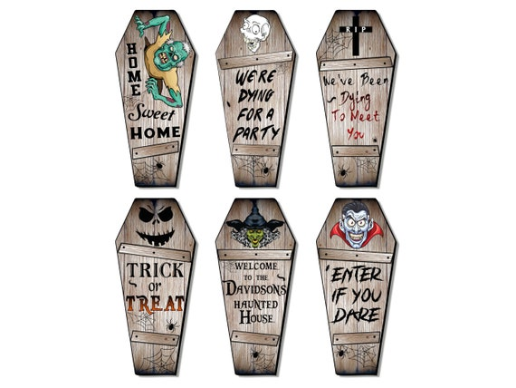 Personalized Wood Coffin Sign Wall Decor, Size 11/16/20/24/30 Inch, Customized with Your Wording & Name, Spooky Gothic Halloween Decoration