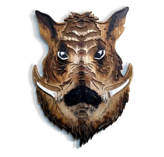 Hog Head Coat & Hat Rack, Home Storage Decor, Handmade on Engraved Rustic Wood, Hunter Decor Animal Head Trophy