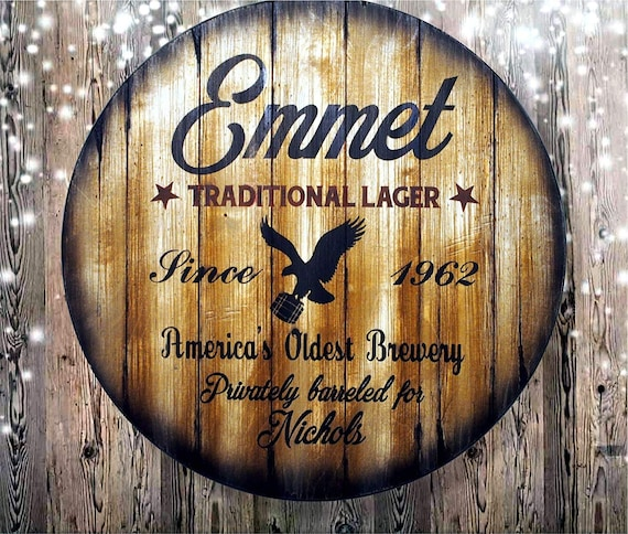 Personalized Christmas Gifts for Men, for Dad, Inspired by Aged Beer Barrels, Handmade Rustic Wood Wall Decor