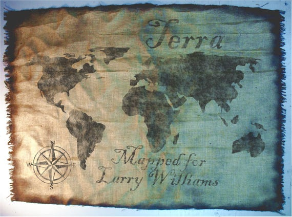 World Map wall art made of worn out burlap, painted by hand | World map rustic wall decor | Made to order, Antique Look, Personalized gift