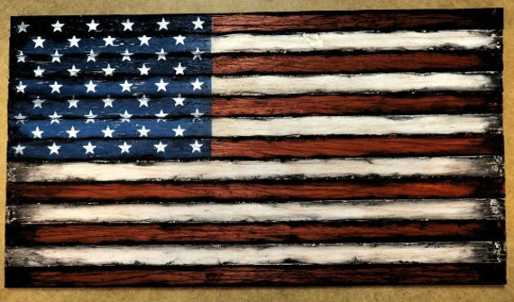 Wooden American Flag decor sign | American Flag Wall Art | Rustic decor | Thirteen individual wooden strips | Engraved plaque optional