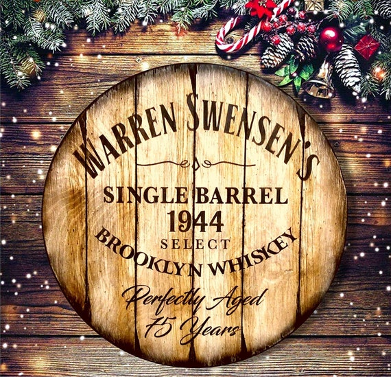 Christmas Gifts, Rustic Wood Wall Decor Sign Inspired by Aged Whiskey Barrels, Personalized Gifts for Men, for Dad