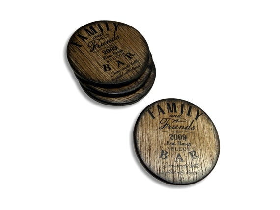 Personalized Coasters Inspired by Old Whiskey Barrels, Set of 4, Rustic Custom Coasters Gift, Bar & Grill Man Cave Accessories Home Decor