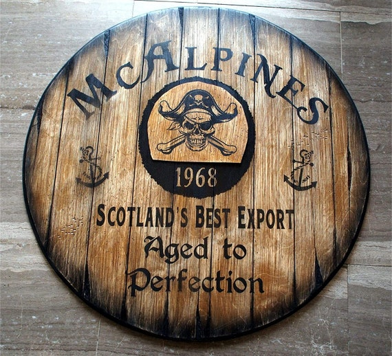 Custom Sign Inspired by Old Rum Barrel Tops, Personalized Gifts, Rustic Home Decor for Living room, Home Bar, Man Cave, Kitchen, Wall Art