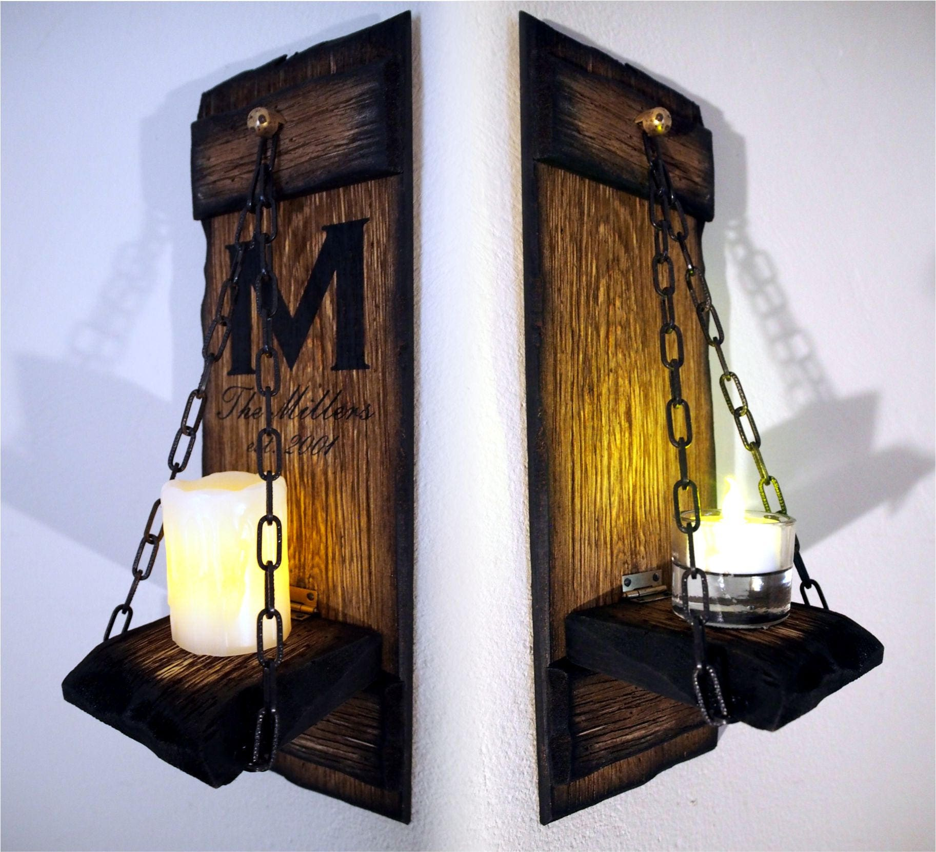 Rustic candle sconces set of 2 primitive country home decor personalized housewarming gift wooden hanging wall candle holder sconce