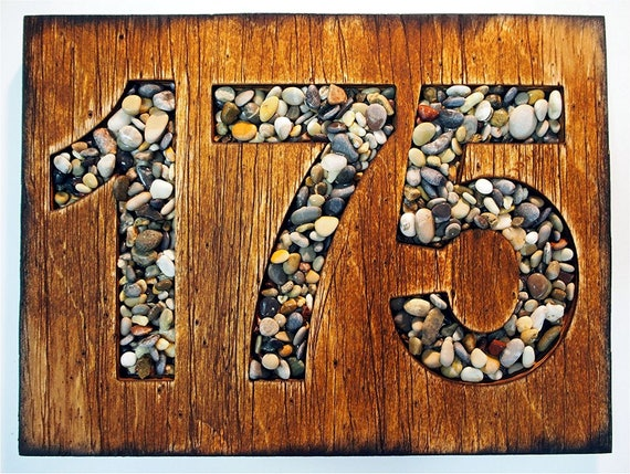 Custom Address Sign | Rustic House Address Plaque | Wooden worn-out plaque and numbers made of Sea Pebbles | House address sign