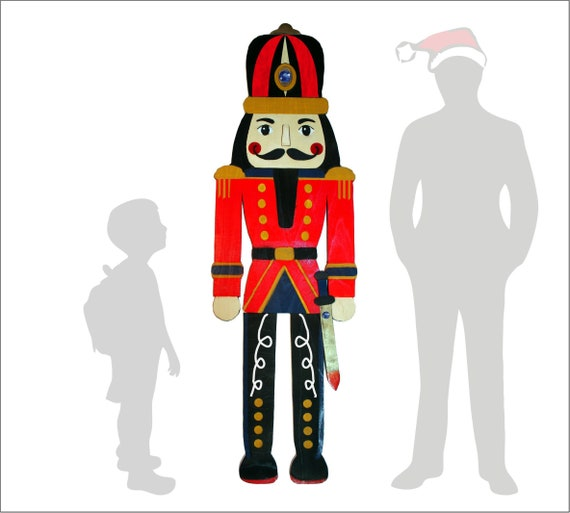 Christmas Wooden Nutcracker | 3ft or 6ft Tall Life-Size | Large Soldier, Knight, King Wall Ornament | Christmas Decorations | Wall Decor