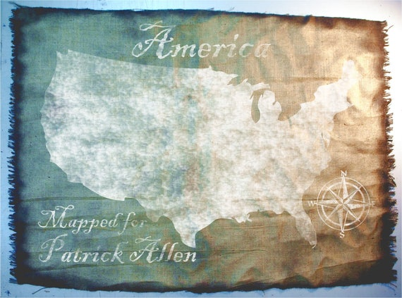 USA Map wall art made of worn out burlap, painted by hand, Map of America vintage wall decor, Made to order, Antique Look, Personalized gift